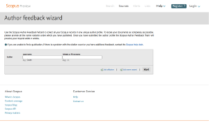 Screenshot: Scopus - Author Feedback Wizard