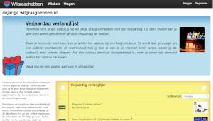 Screenshot: Wilgraaghebben.nl, online verlanglijstjes